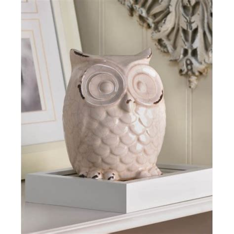white owl home decor wide eyed glazed white owl statue figurine home living