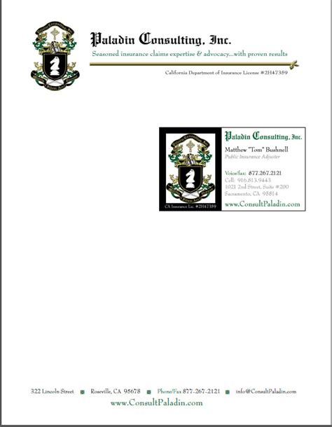 paladin business card template s a jernigan sle portfolio of past projects