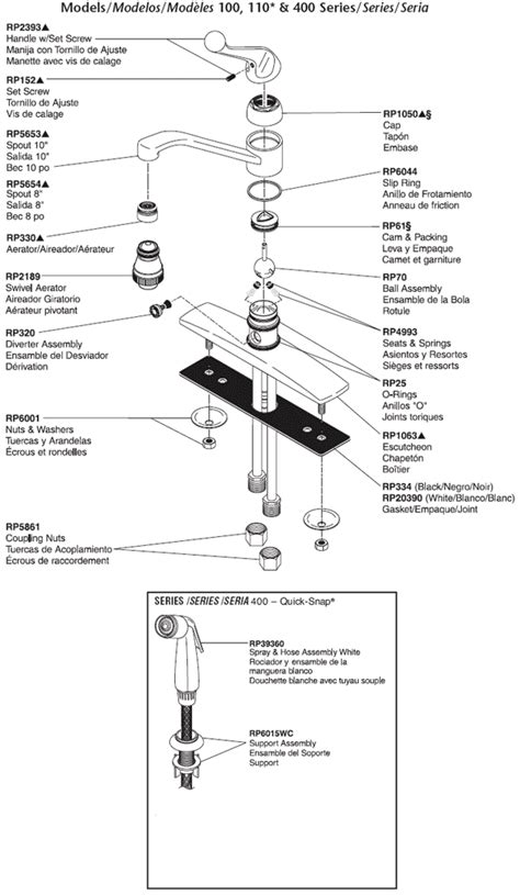 Delta Kitchen Faucet Parts Diagram Plumbingwarehouse Delta Kitchen Faucet Parts For Models 100 110 400