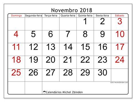 Calendario Novembro 2018 Calend 225 Para Imprimir Novembro 2018 Emericus Brasil