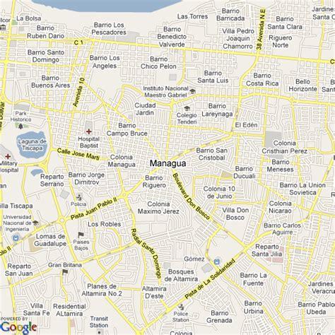 managua nicaragua map map of managua nicaragua hotels accommodation