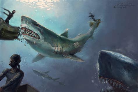 painting attack shark attack by kimag3500 on deviantart