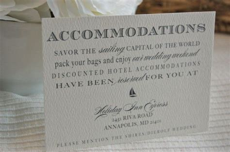 Wedding Accommodation Card Wording Exles