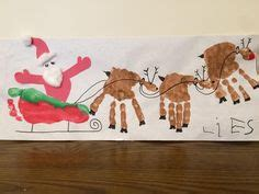 santa on the sleigh kids crafts handprint reindeer footprint santa sleigh use the thumb to make santa our crafts