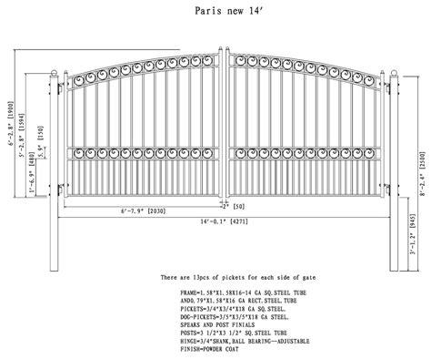 dual swing gate paris style dual swing steel driveway gate 12 18