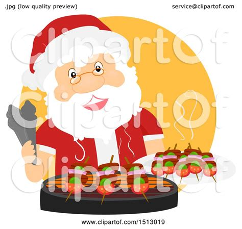 studio decor holiday clip clipart of a santa claus grilling on a bbq royalty free vector illustration by bnp