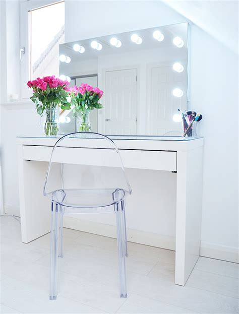 white vanity desk with lights makeup storage ideas ikea malm makeup vanity with mirror