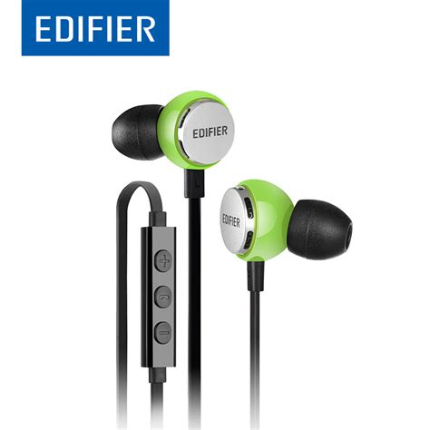 Earphone Edifier P186 In Ear Stereo Earbuds With Microphone edifier p293 in ear earphone hifi bass noise isolating fitness earphone support inline