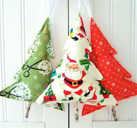 fabric tree ornaments christmas ornaments pinterest