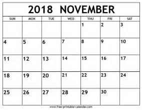November 2018 Calendar With Holidays November 2018 Calendar Free Printable Calendar