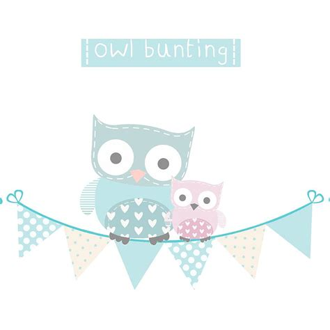 bunting wall stickers owl bunting fabric wall stickers by littleprints notonthehighstreet
