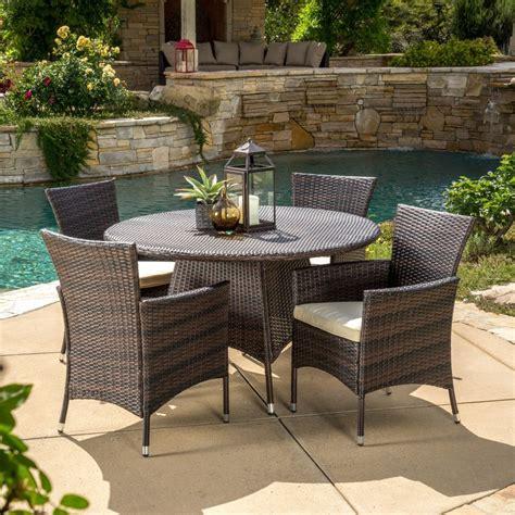 piece outdoor patio furniture multi brown wicker  dining set ebay