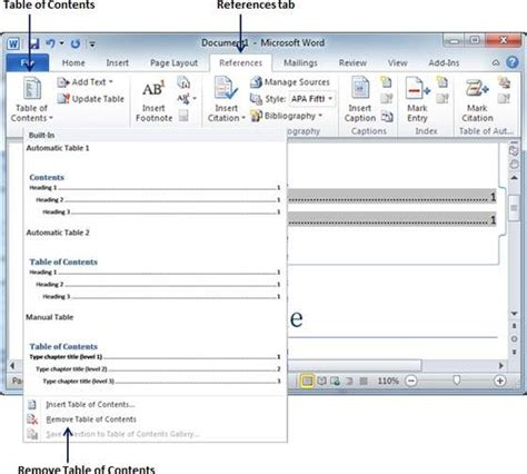 tutorialspoint ms word table of contents in word 2010
