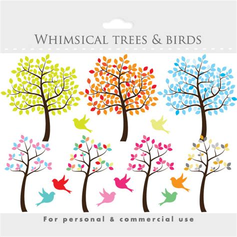 sweet bird and tree clipart set with cute little owl tree clipart tree clip art whimsical cute sweet birds
