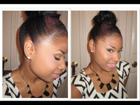 LAY them EDGES like a RELAXER!!   Top Knot Bun   YouTube