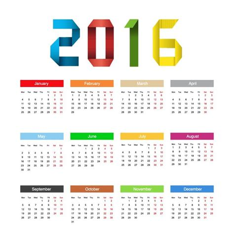 layout calendar design 2016 calendar 2016 year colorful design vector illustration