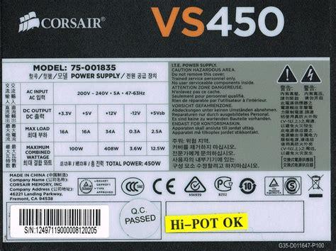 Psu Corsair Vs450 450 Watt Power Supply corsair vs450 review