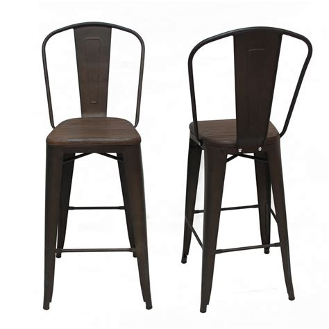 Metal Bar Stool With Back Matt Bronze Metal Bar Stool With Back Wooden Seat Set Of Two Ch0270 1