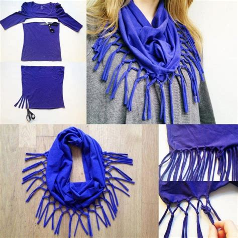 diy t shirt scarf easy ideas no sewing blue blouse