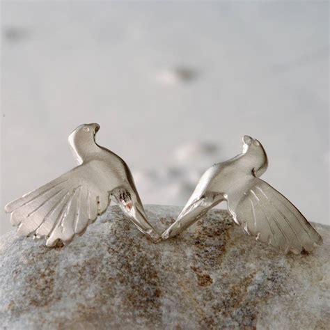 sterling silver bird stud earrings by alice stewart