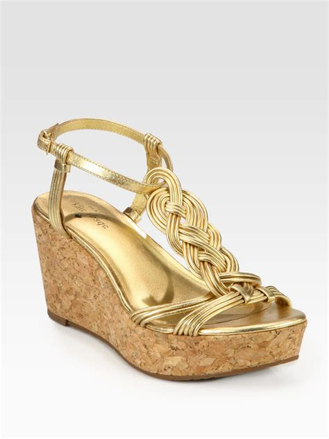 Kate Spade Wedges 1 kate spade becca braided metallic leather t wedge sandals in gold lyst