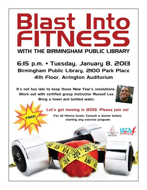 fitness flyer template free birmingham library blast into fitness with a free