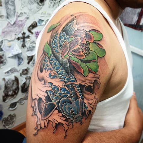 koi fish tattoo on shoulder collection of 25 water fish tattoo on back of shoulder