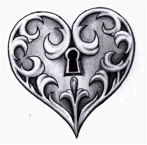 locked heart tattoo designs lock pencil and in color lock