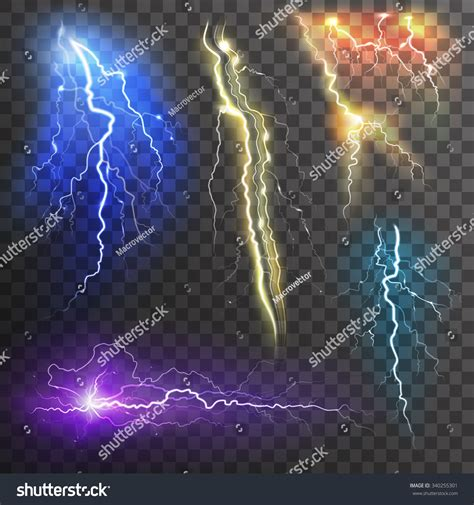 lightning colors lightning transparent set different colors realistic stock