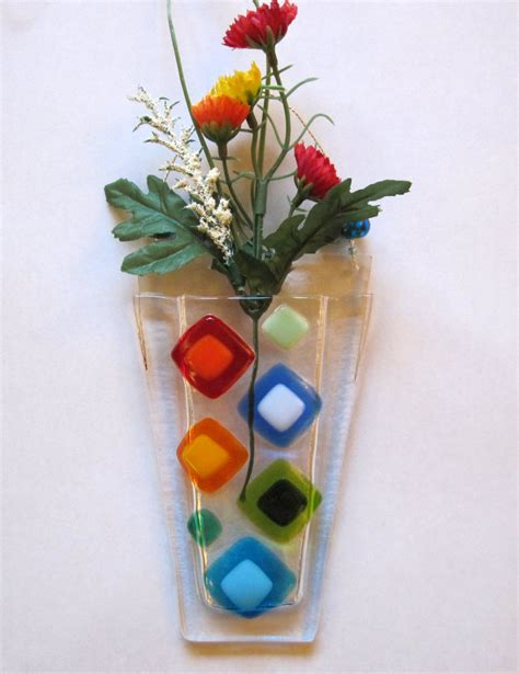 Wall Glass Vase by Fused Glass Wall Vase Fused Glass Flower Vase Wall Hanging