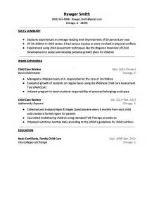 child resume sle 28 sle resume for child care daycare resume no