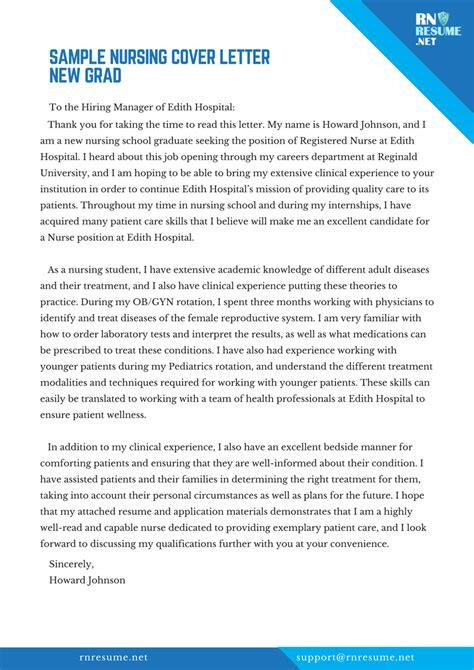 Cover Letter For Nursing Resume New Grad by Nursing Cover Letter New Grad Sle Tips Writing Service