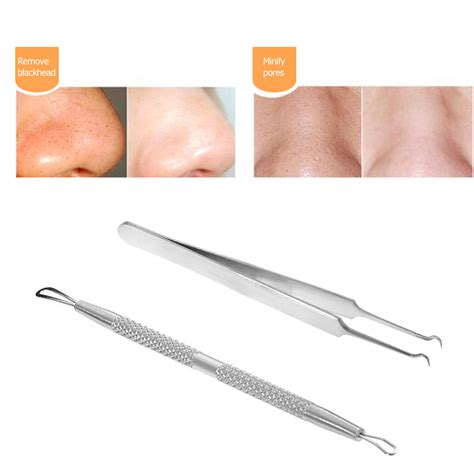 Acne Clip Make Up Tool 2pcs blackhead tool curved acne clip pimple tweezer comedone cleaner stainless steel