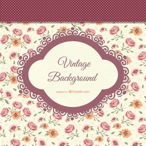 vintage style background with flowers free vectors