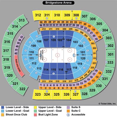 detailed seating chart bridgestone arena nashville tn predators seating chart bridgestone arena concert