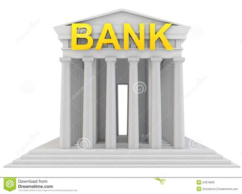 d bank banking 3d bank building with golden sign royalty free stock image