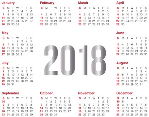 2018 calendar merry and happy new year 2018