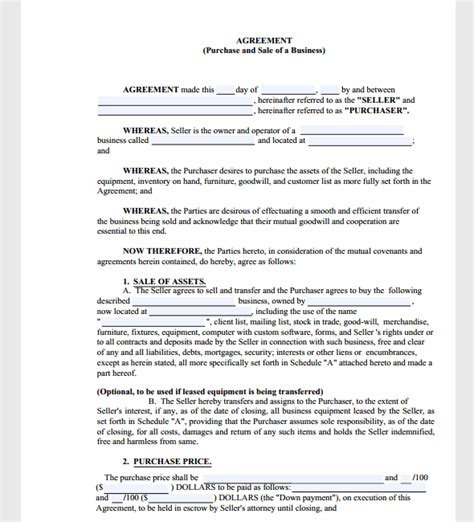 business purchase agreement template sle templates
