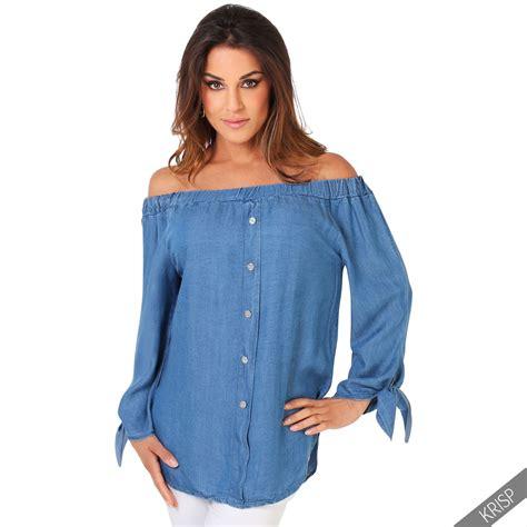 denim sleeve blouse retro shoulder casual denim shirt blouse