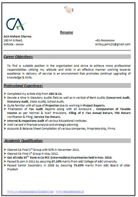 indian accountant resume sle 10000 cv and resume sles with free indian chartered accountant resume sle