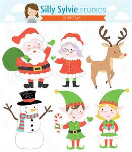 items similar to christmas clip art santa claus mrs claus elves snowman reindeer on etsy