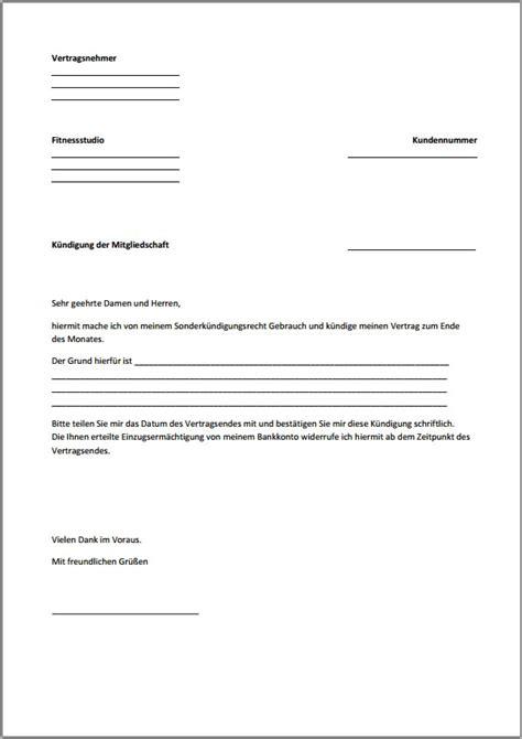 Vorlage Kündigung Abo Englisch k 252 ndigung fitnessstudio vorlage text word pdf