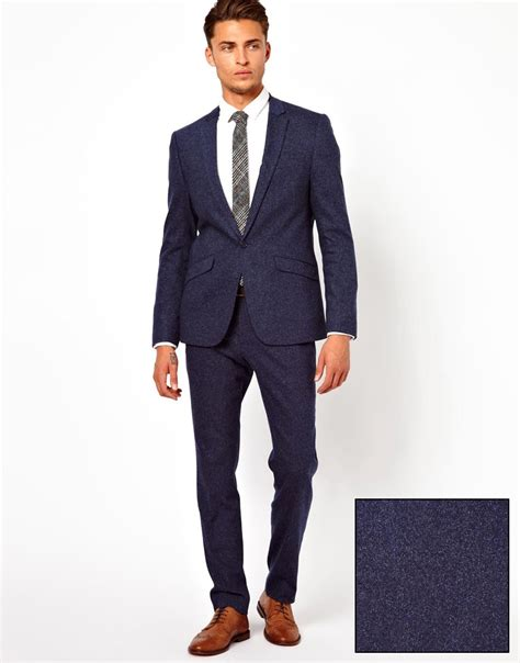 mens cocktail attire asos fit suit jacket in navy fleck at asos