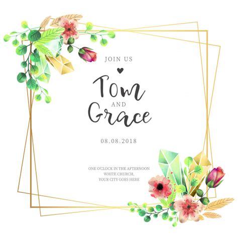 convite de casamento flores em aquarela convite de casamento elegante moldura flores em