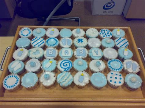 Baby Shower Cupcakes Ideas by Baby Blue Baby Shower Christening Cupcakes