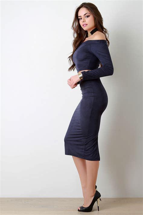 Slit Back Midi Skirt suede back slit high waist midi skirt urbanog