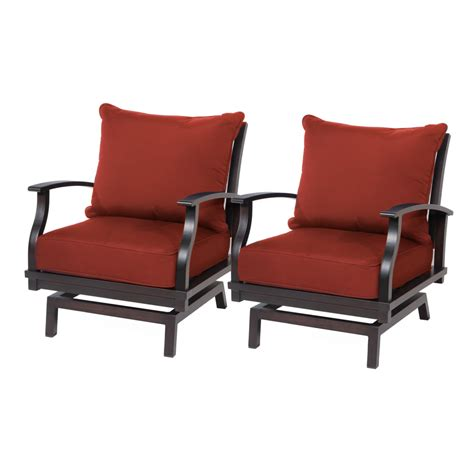 Aluminum Patio Chairs Shop Allen Roth Gatewood 2 Count Brown Aluminum Patio Conversation Chair With Canvas Chili