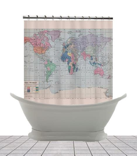 world map home decor world map fabric shower curtain historical map home by mapology