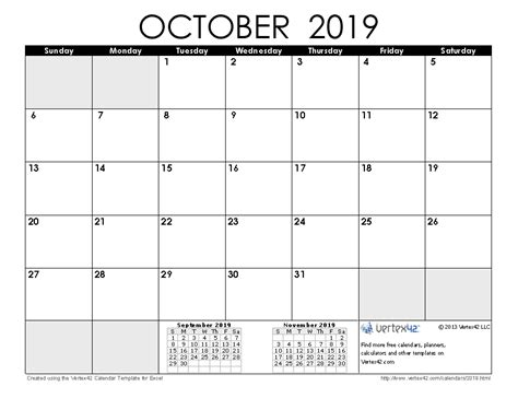 Calendar 2019 October 2019 Calendar Templates And Images