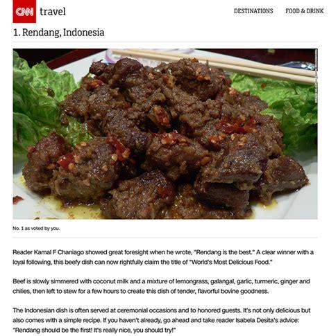 rendang  nasi goreng  voted  worlds  foods